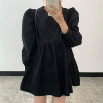 Dress Spring 2021 White, black S,M,L singleton  Long sleeves commute Crew neck High waist Solid color 18-24 years old Other / other Korean version