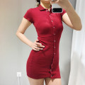 Dress Summer of 2019 S, M Mid length dress singleton  Short sleeve street Polo collar High waist Single breasted routine Europe and America