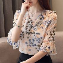 Lace / Chiffon Summer 2021 Orange, turquoise S,M,L,XL,2XL,3XL Short sleeve commute Socket singleton  easy Regular V-neck Decor routine Love of brother Hua Ruffle, printing, 3D, resin fixation lady 51% (inclusive) - 70% (inclusive) polyester fiber