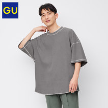 T-shirt Youth fashion 01 cream 07 Turquoise 09 black 57 Dark Olive routine 165/84A/S 170/92A/M 175/100A/L 180/108B/XL Gu elbow sleeve other easy Other leisure GU333615000 Cotton 100% Summer 2021 Same model in shopping mall (sold online and offline)
