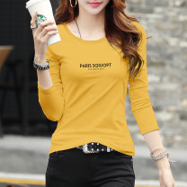 T-shirt Ginger, red, white, pink S,M,L,XL,2XL,3XL Autumn of 2019 Long sleeves Crew neck Self cultivation Regular routine commute cotton 86% (inclusive) -95% (inclusive) 25-29 years old Korean version originality letter How beautiful cotton is C161 long sleeve crew neck squio