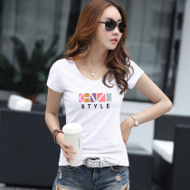 T-shirt white S M L XL 2XL 3XL Summer of 2018 Short sleeve Crew neck Self cultivation Regular routine commute cotton 86% (inclusive) -95% (inclusive) 18-24 years old Korean version youth Cartoon animation animal pattern geometric pattern letter Yd102 - Short Sleeve - Crew Neck - color geometric fast
