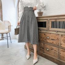 skirt Spring 2021 S,M,L,XL Check Mid length dress commute High waist A-line skirt lattice Type A 25-29 years old Pleats, buttons Korean version