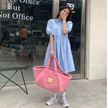 Dress Summer 2021 White, blue Average size longuette singleton  Short sleeve commute Doll Collar High waist Solid color Socket A-line skirt routine 18-24 years old Type A Korean version Button 81% (inclusive) - 90% (inclusive) polyester fiber
