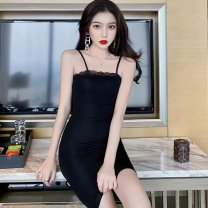 Dress Summer 2020 black S,M,L Short skirt singleton  Short sleeve commute One word collar High waist Socket One pace skirt camisole Type A Other / other Korean version Lace 51% (inclusive) - 70% (inclusive) cotton