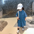 Dress blue female Other / other 90cm,100cm,110cm,120cm,130cm,140cm Other 100% summer leisure time Short sleeve Solid color Denim Denim skirt 18 months, 2 years old, 3 years old, 4 years old, 5 years old, 6 years old, 7 years old, 8 years old