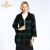 woolen coat Winter 2015 S,M,L,XL Black green wool 71% (inclusive) - 80% (inclusive) Medium length Nine point sleeve commute Single breasted routine Half open collar lattice Straight cylinder Simplicity Gowani / Giovanni 30-34 years old Solid color Tweed