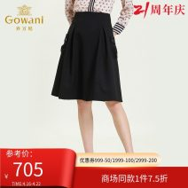 skirt Autumn 2020 S,M,L,XL,XXL Meteorite black Mid length dress commute Natural waist Umbrella skirt Solid color Type A 35-39 years old ES3D515501 More than 95% Gowani / Giovanni polyester fiber pocket Simplicity