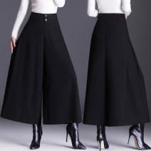 Casual pants Thick black fabric, thin black chiffon M,L,XL,2XL,3XL,4XL,5XL Spring 2021 Ninth pants Wide leg pants High waist routine Cotton blended fabric pocket