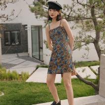 Dress Summer of 2019 Sunflower S, M Short skirt Sleeveless High waist Decor A-line skirt camisole Type A 1568# 31% (inclusive) - 50% (inclusive) other polyester fiber