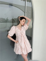 Dress Spring 2021 V-neck skirt with twist drill XS,S,M Middle-skirt singleton  elbow sleeve V-neck Decor zipper A-line skirt puff sleeve 25-29 years old Type A Other / other 51% (inclusive) - 70% (inclusive)