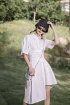 Dress Summer 2020 White, black S,M,L Mid length dress singleton  Short sleeve commute Polo collar Loose waist Solid color Single breasted Irregular skirt puff sleeve Others 18-24 years old Type A Other / other Retro 2953# 31% (inclusive) - 50% (inclusive) other cotton