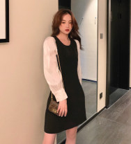 Dress Autumn 2020 Black spot S,M,L Short skirt singleton  Long sleeves Crew neck High waist Solid color Socket A-line skirt puff sleeve Type A Other / other 91% (inclusive) - 95% (inclusive) other