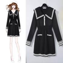 Dress Winter 2020 black S,M,L,XL Mid length dress singleton  Long sleeves commute Admiral High waist Solid color Socket A-line skirt routine Others 25-29 years old Type X Other Korean version Pocket, button More than 95% other other