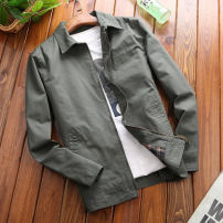Jacket Jeep shield Fashion City Khaki, army green, black blue M,L,XL,2XL,3XL,4XL thin Self cultivation Other leisure autumn Cotton 100% Long sleeves Wear out Lapel tide youth routine Zipper placket 2016 Cloth hem washing Loose cuff Solid color Zipper decoration Side seam pocket cotton