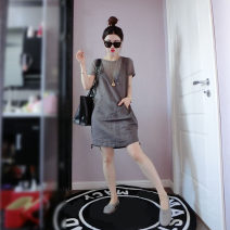 Dress Summer 2021 grey S,M,L,XL Mid length dress Two piece set Short sleeve street Crew neck High waist Solid color Socket routine Others Type A 51% (inclusive) - 70% (inclusive) other nylon Europe and America