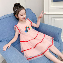 Dress Pink female Other / other The recommended height is about 100cm for Size 110, 110cm for Size 120, 120cm for Size 130, 130cm for size 140, 140cm for size 150 and 150cm for size 160 Cotton 90% other 10% summer princess Short sleeve cotton Cake skirt Class B