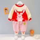 suit Other / other Pink, yellow, red, brown 73cm,80cm,90cm,100cm,110cm spring Korean version Long sleeve + pants 2 pieces routine No model Socket nothing Cartoon animation cotton children Expression of love Class A Cotton 95% other 5%