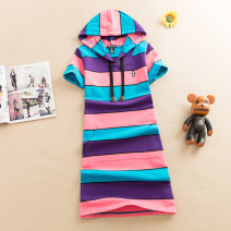 Dress Summer 2020 M,L,XL,2XL Mid length dress singleton  Short sleeve commute Hood middle-waisted stripe Socket A-line skirt routine Others 18-24 years old Type A Korean version More than 95% brocade cotton