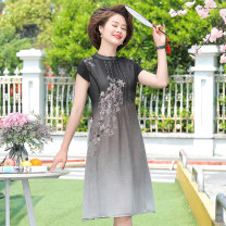 Middle aged and old women's wear Summer 2020 black XL,XXL,XXXL,4XL fashion Dress easy singleton  Decor 40-49 years old Conjoined thin Crew neck routine Other / other Chiffon, polyester Medium length Chiffon other