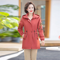 Middle aged and old women's wear Winter 2020 Apricot, Navy, scarlet, dark pink XL,XXL,XXXL,4XL,5XL fashion Windbreaker easy singleton  Solid color 40-49 years old Cardigan moderate Hood Medium length routine two hundred and twenty-three other pocket zipper