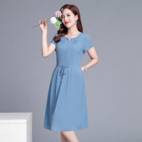 Middle aged and old women's wear Summer 2021 Red, blue, Navy, orange M,L,XL,XXL,XXXL,4XL fashion Dress easy singleton  Solid color 40-49 years old Socket moderate V-neck Medium length routine Jiusailang Button Medium length