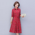 Middle aged and old women's wear Spring 2021 Red, Navy XL,XXL,3XL,4XL,5XL fashion Dress easy singleton  Decor 40-49 years old Socket moderate Medium length routine Other / other Medium length