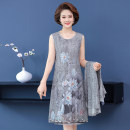 Middle aged and old women's wear Summer 2021 Grey, pink XL,XXL,XXXL,4XL,5XL fashion Dress easy Two piece set Flower and bird pattern 40-49 years old Socket moderate Crew neck Medium length routine Jiusailang Medium length other