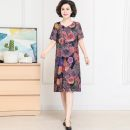 Middle aged and old women's wear Summer 2021 1, 2, 3, 4, 5, 6, 7, 8 XL,XXL,XXXL,4XL,5XL fashion Dress easy singleton  Flower and bird pattern 40-49 years old Socket moderate Crew neck Medium length routine Jiusailang Button longuette