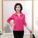 Middle aged and old women's wear Autumn of 2019, spring of 2020 Purple, purple, black, rose XXL,XXXL,4XL fashion Jacket / jacket easy singleton  Solid color 40-49 years old Cardigan moderate Polo collar Short (length 35-50cm) routine Jiusailang zipper cotton