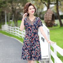 Middle aged and old women's wear Spring 2021 Red, yellow, blue, orange XL,XXL,XXXL,4XL,5XL leisure time Dress easy singleton  Flower and bird pattern 40-49 years old Conjoined moderate V-neck Medium length routine Jiusailang Medium length other