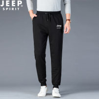 Casual pants Jeep / Jeep Youth fashion M,L,XL,2XL,3XL,4XL routine trousers motion easy Micro bomb 19MB783SP6117 spring youth tide 2021 middle-waisted Little feet Sports pants Embroidered logo washing Solid color cotton cotton International brands More than 95%