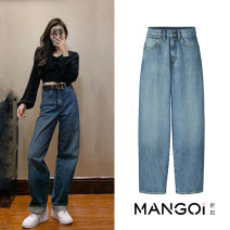 Jeans Spring of 2019 XS,S,M,L trousers High waist Straight pants routine Old, wash, zipper, button, multi pocket Cotton denim TRAF 96% and above