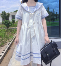 Dress Spring 2020 White, blue S,M,L,XL 18-24 years old 81% (inclusive) - 90% (inclusive)