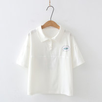 T-shirt White, purple, green Average size Summer 2021 Short sleeve Polo collar Straight cylinder Regular routine Sweet cotton 51% (inclusive) - 70% (inclusive) 18-24 years old Cartoon, plant and flower Embroidery, printing, bandage, three-dimensional decoration, bow solar system