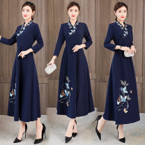 Dress Spring 2021 Light purple, Navy S,M,L,XL,2XL,3XL longuette singleton  Long sleeves commute V-neck middle-waisted Big flower zipper A-line skirt routine Others 25-29 years old Type A Other / other Retro Embroidery, embroidery XYF9217 71% (inclusive) - 80% (inclusive) Chiffon polyester fiber
