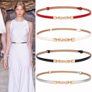 Belt / belt / chain Double skin leather Black, white, Navy, red, gold, silver, blue, pink female belt Versatile Single loop Youth, middle age a hook Geometric pattern Patent leather 1cm alloy Naked, elastic