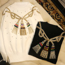 Wool knitwear Winter of 2019 S,M,L White, black Long sleeves singleton  Socket wool 30% and below Regular routine commute easy Low crew neck Abstract pattern ethnic style K0754