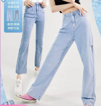 Jeans Summer 2021 Straight denim, micro blue denim S,M,L,XL trousers High waist Flared trousers routine Worn out, washed Cotton elastic denim light colour Peacebird 96% and above