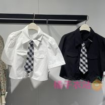 shirt White, black S,M,L,XL Summer 2021 cotton 96% and above Short sleeve commute Short style (40cm < length ≤ 50cm) square neck Single row multi button routine Solid color 25-29 years old Straight cylinder Peacebird Korean version A1CCB2304 Splicing