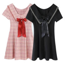 Dress Summer 2021 Black, pink check S,M,L,XL Short skirt singleton  Short sleeve Sweet Admiral High waist Solid color Socket A-line skirt routine Type A Peacebird bow 31% (inclusive) - 50% (inclusive) polyester fiber college
