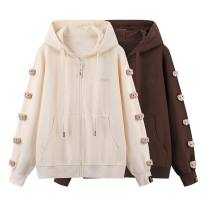 Sweater / sweater Spring 2021 Coffee, beige XS,S,M,L Long sleeves routine Cardigan singleton  routine Hood easy street routine Solid color 81% (inclusive) - 90% (inclusive) Peacebird cotton zipper cotton Cotton liner zipper Sports & Leisure