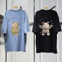 T-shirt Black, blue XS,S,M,L Summer 2021 Short sleeve Crew neck easy Regular routine commute cotton 96% and above Korean version Cartoon animation Peacebird printing