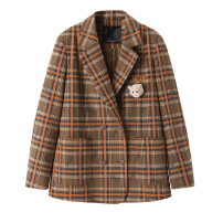 suit Spring 2021 Brown check XS,S,M,L Long sleeves routine Straight cylinder tailored collar Single breasted commute routine lattice 25-29 years old 71% (inclusive) - 80% (inclusive) polyester fiber Peacebird Button