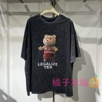 T-shirt Black ash XS,S,M,L,XL Summer 2021 Short sleeve Crew neck easy Regular routine commute cotton 96% and above Korean version youth Cartoon animation Peacebird A6DAB2A16 printing