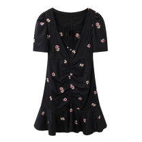 Dress Summer 2021 black S,M,L,XL Short skirt singleton  Short sleeve commute square neck High waist Solid color Socket A-line skirt routine Type A Peacebird Korean version Embroidery A1FAB2303 71% (inclusive) - 80% (inclusive) polyester fiber