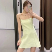 Dress Spring 2021 lime  XS,S,M,L Middle-skirt singleton  Sleeveless Sweet middle-waisted Solid color Socket A-line skirt camisole Type A UR ZARA COS 81% (inclusive) - 90% (inclusive) other other Ruili