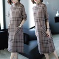 Dress Autumn 2020 Picture color M,L,XL,2XL,3XL longuette singleton  Long sleeves commute High collar Loose waist lattice Socket A-line skirt routine Others 30-34 years old Type A Korean version Splicing