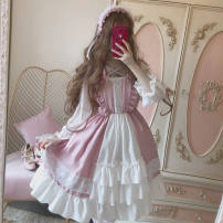 Dress Winter of 2019 Pink white, black and white M, L Mid length dress singleton  Long sleeves Sweet square neck High waist Solid color Socket A-line skirt Lotus leaf sleeve Under 17 Type A Bowknot, stitching, lace 31% (inclusive) - 50% (inclusive) Chiffon Lolita