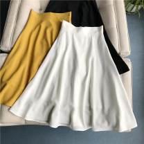 skirt Spring 2020 S / 1, M / 2, L / 3, XL / 4 King umbrella skirt - Black (in stock), King umbrella skirt - white (in stock), King umbrella skirt - yellow (in stock) longuette commute High waist A-line skirt Solid color Type A 25-29 years old Chiffon magic elli polyester fiber Lotus leaf edge